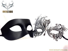 Luxury Venetian Couple Masquerade Mask Set - Black Swan