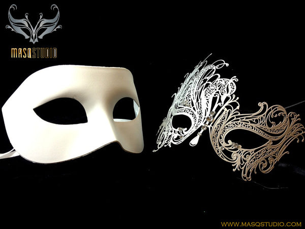 Luxury Venetian Couple Masquerade Mask Set - White Swan