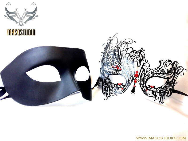 Luxury Venetian Couple Masquerade Mask Set - Black Red Swan