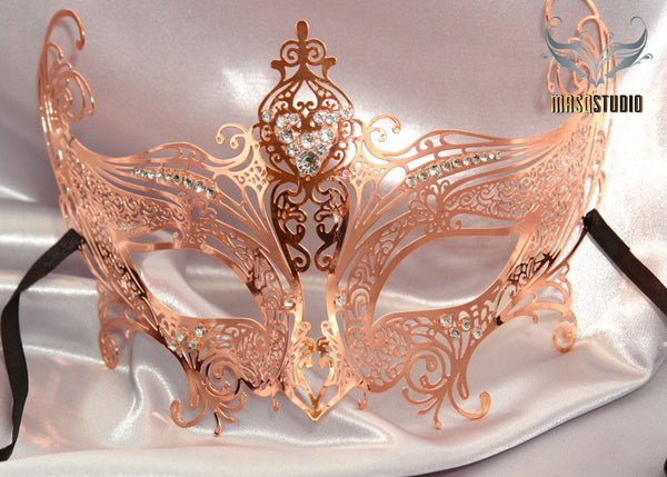 Filigree metal Gossip Girl Serena Rose Gold Masquerade Mask