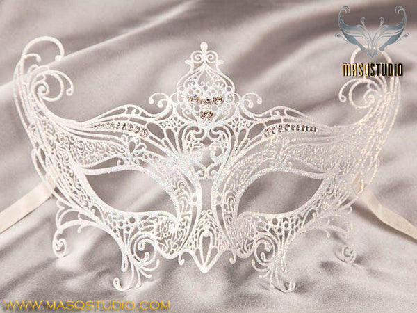 Filigree metal Gossip Girl Serena White Masquerade Mask