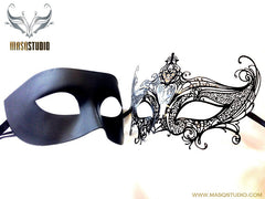 Luxury Venetian Couple Masquerade Mask Black Set - Serena