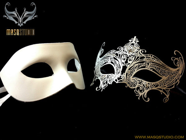 Filigree laser cut metal Serena Couple Masquerade mask set