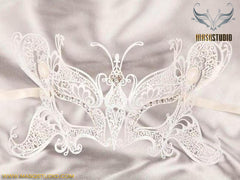 Filigree metal Laser cut Butterfly White Mask