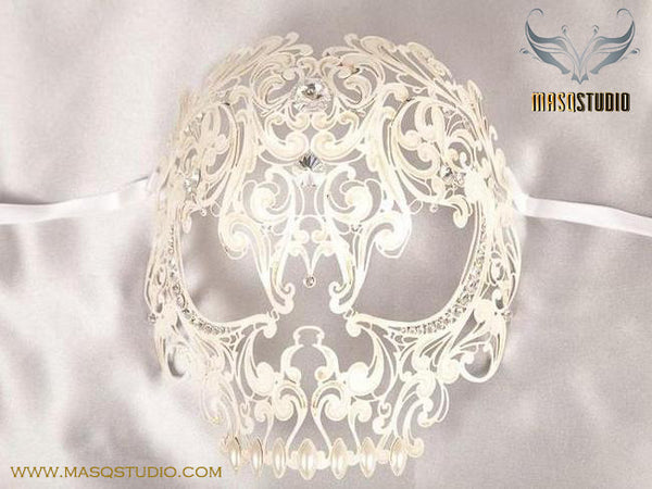 Filigree Laser cut metal Full Face White Skull Masquerade Mask