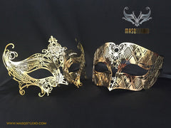 Luxury Laser cut Metal Couple Gossip Girl Silver Serena Masquerade Mask Set