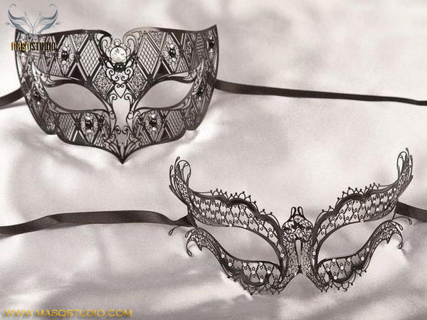 Laser cut Metal Couple Vampire Diaries Black Masquerade Mask Set
