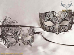 Luxury Filigree Laser cut Metal Couple Black Swan Masquerade Mask Set