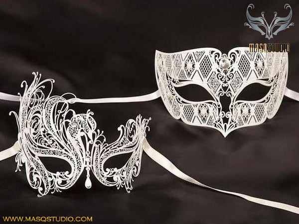 Luxury Filigree Laser cut Metal Couple White Swan Masquerade Mask Set