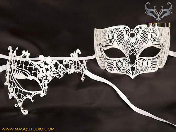 Filigree Laser cut Metal Couple Masquerade Mask Set Phantom White