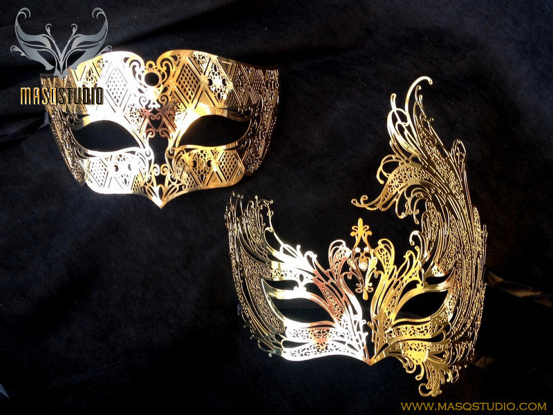 Luxury Laser cut SWAN Couple Siver Gold Masquerade Mask