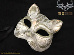 Halloween Masquerade Mask Costume Dress up Party Silver Cat Mask
