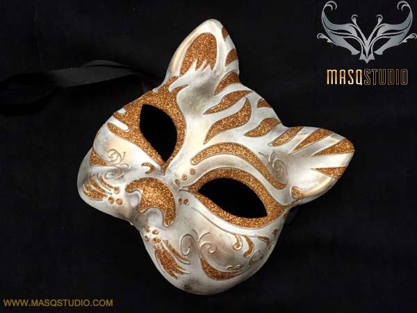 Halloween Masquerade Mask Costume Dress up Party Rose Gold Cat Mask