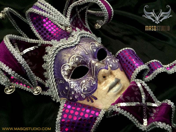 Women Female Jester Full Face Mask - Purple w/Sequins