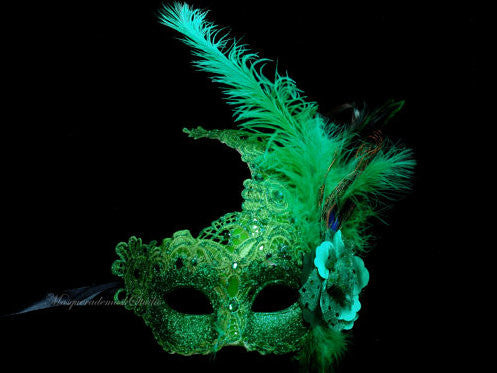 Venetian style side Feather Brocade Green Lace Masquerade Ball Mask