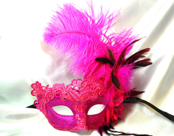 Venetian style side Feather Brocade Fuchsia Lace Masquerade Ball Mask
