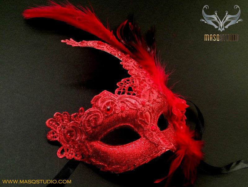 Venetian style Brocade Red Lace Masquerade Ball Mask
