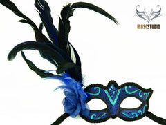 Venetian style side Feather Masquerade Ball Mask Royal Blue