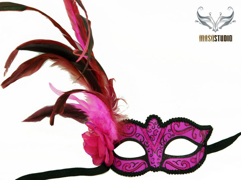 Venetian style side Feather Masquerade Ball Mask Hotpink Fuchsia