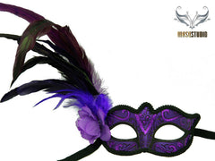 Venetian style side Feather Masquerade Ball Mask Puprle