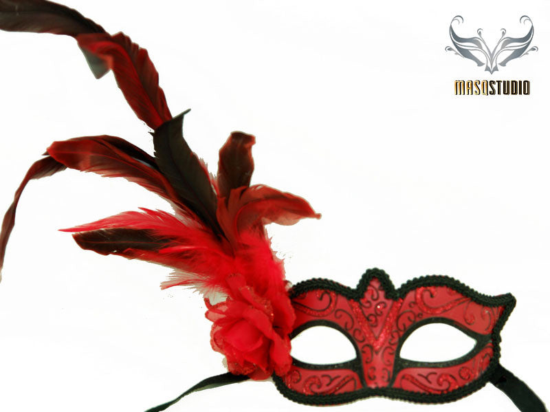 Venetian style side Feather Masquerade Ball Mask Red