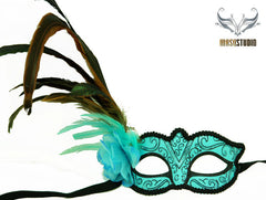Venetian style side Feather Masquerade Ball Mask Baby Teal Turquoise