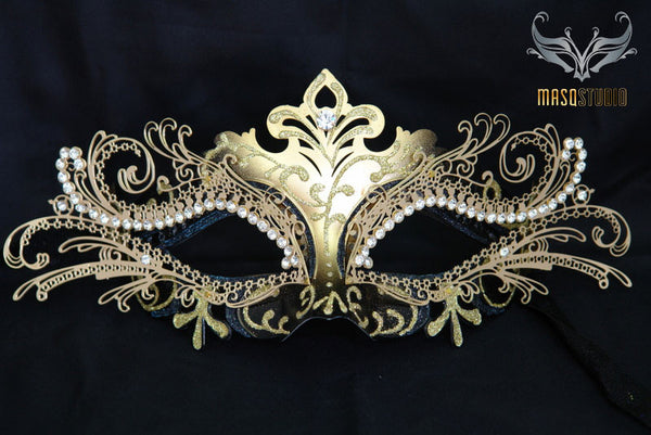 Luxury Metal Laser Cut Mask Princess - Black and Gold