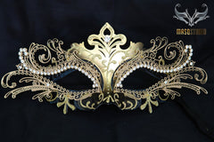 Luxury Metal Laser Cut Masquerade mask in black and gold