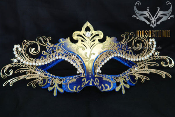Luxury Metal Laser Cut Mask Princess - Blue and Gold