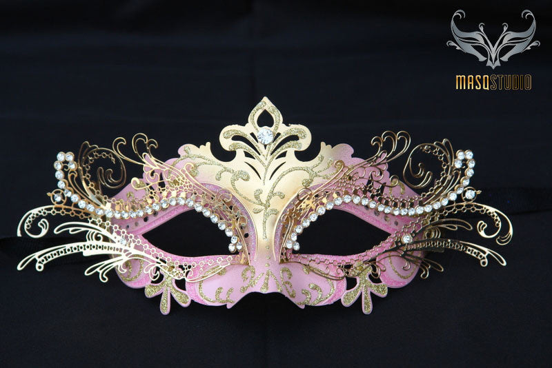 Luxury Metal Laser Cut Masquerade mask in pink and gold