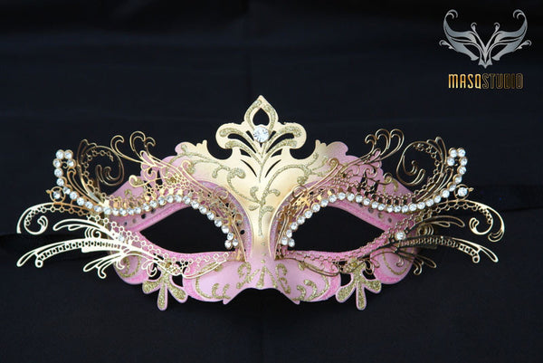 Luxury Metal Laser Cut Mask Princess - Pink and Gold