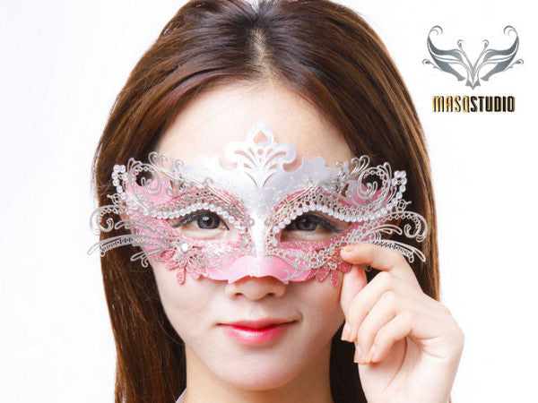 Filigree metal laser cut masquerade mask Princess Silver Pink