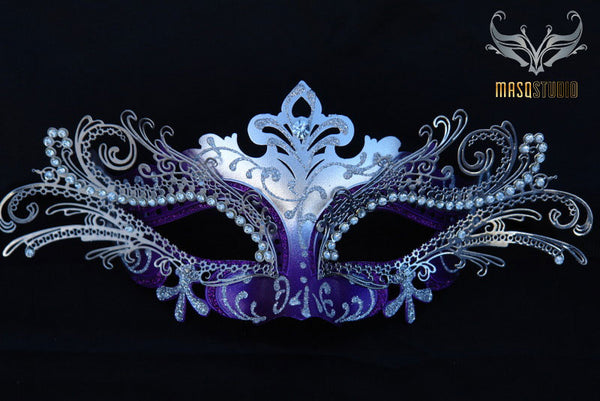 Luxury Metal Laser Cut Mask Princess - Purple and Silver
