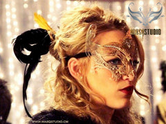 Filigree metal Gossip Girl Serena Gold Masquerade Mask