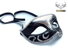 Black Silver Masquerade mask for Man