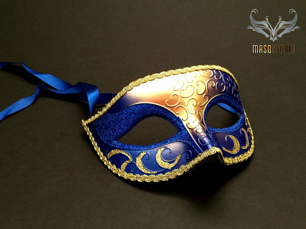 Men's Royal Blue Gold Masquerade eye mask