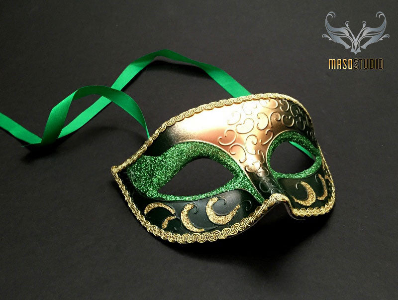 Gold Green Masquerade mask for Man