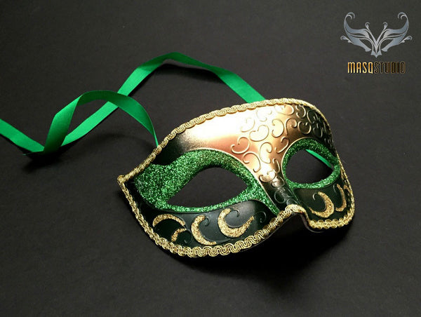 Men's Green Gold Masquerade eye mask