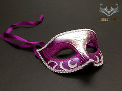 Silver Purple Masquerade ball eye mask