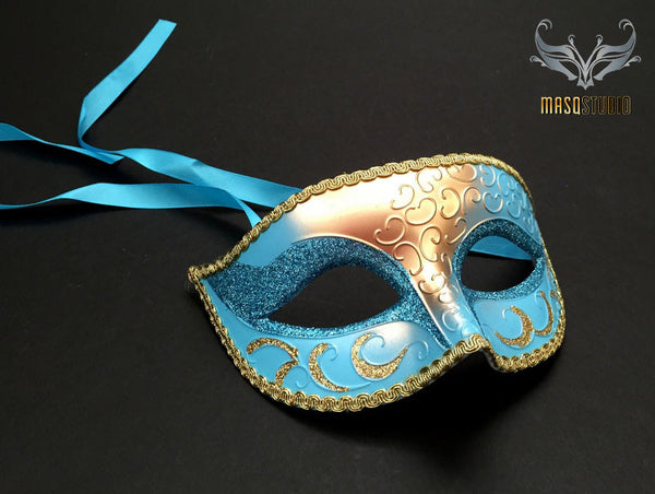 Men's Turquoise Gold Masquerade eye mask