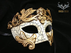 Men's Masquerade Mask Roman Gladiator Thor - Crack Gold