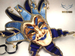 Jolly Jester full face masquerade mask in light blue