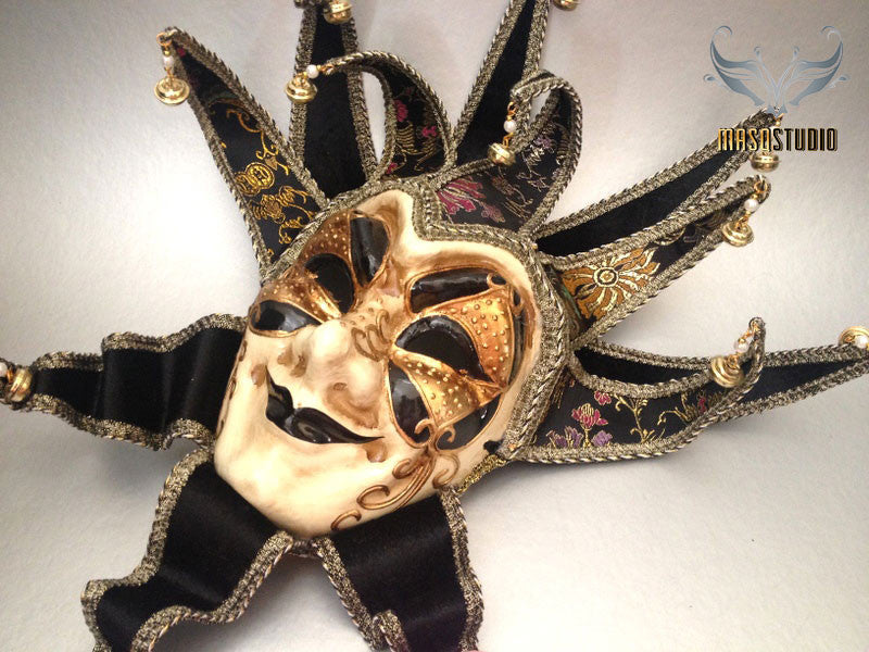 Jolly Jester full face masquerade mask in black and gold