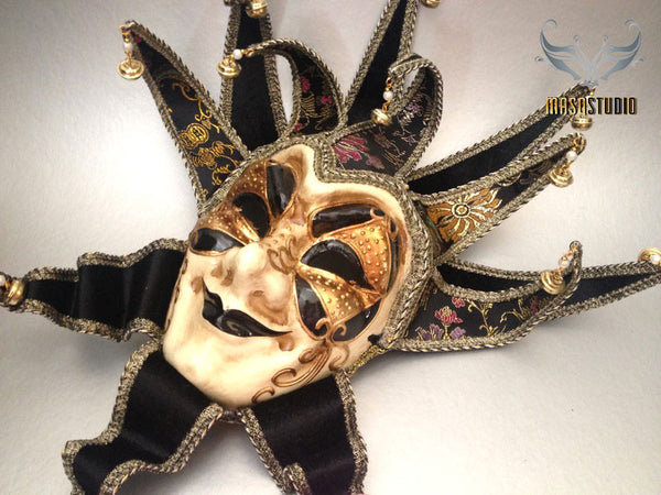 Jolly Jester Full Face Mask - Black and Gold