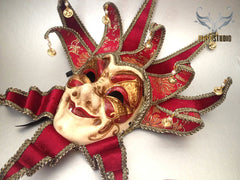Jolly Jester full face masquerade mask in red