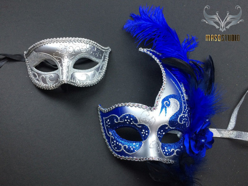 Silver accent Royal Blue Feather Masquerade Mask for couple