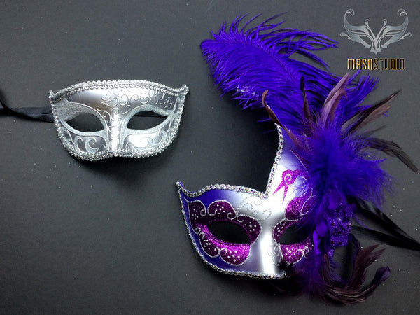 Couple Masquerade mask set Venetian Feathered Purple Silver Masquerade Mask Pair