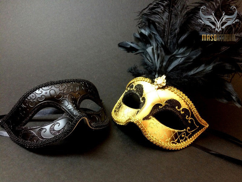 Gold accent Black Feather Masquerade Mask for couple