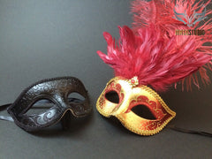 Gold accent Burgundy Red Feather Masquerade Mask for couple