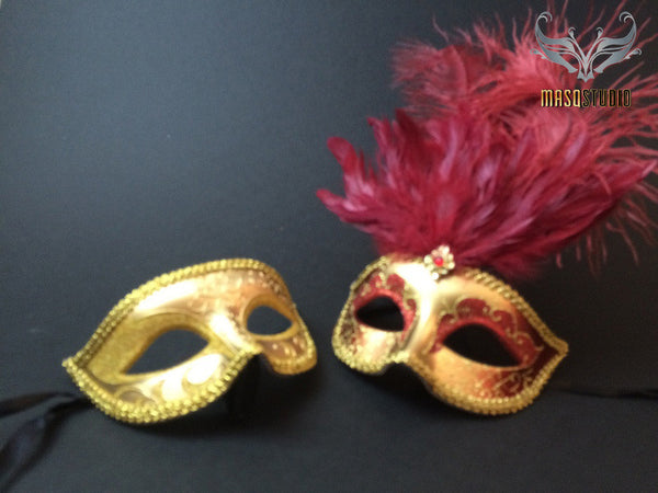 Fifty shades of Grey Couple Masquerade mask Pair Burgundy Gold